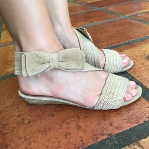 Anthropologie Ankle Wrap Bow Sandals, size 7
